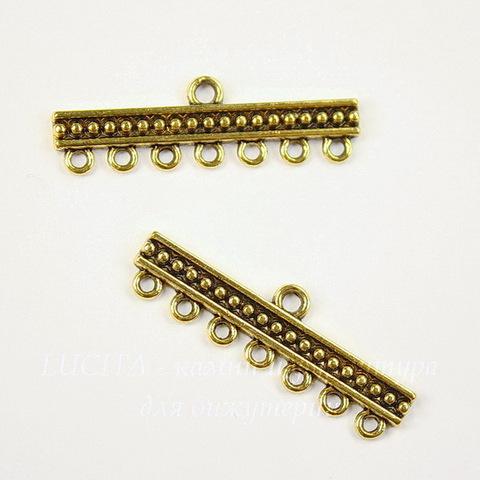 "Коннектор ""Бусинки"" (1-7) 33х10 мм (цвет - античное золото), ПАРА"