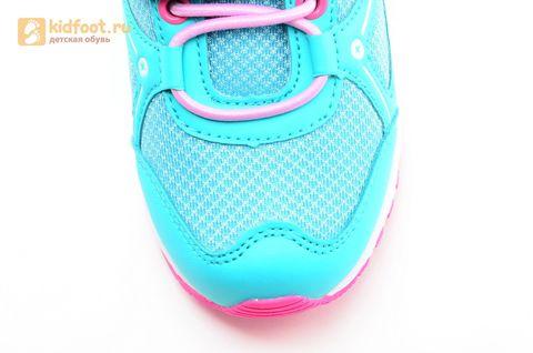 Светящиеся кроссовки для девочек Фиксики на липучках, цвет бирюзовый, мигает картинка сбоку. Изображение 11 из 14.