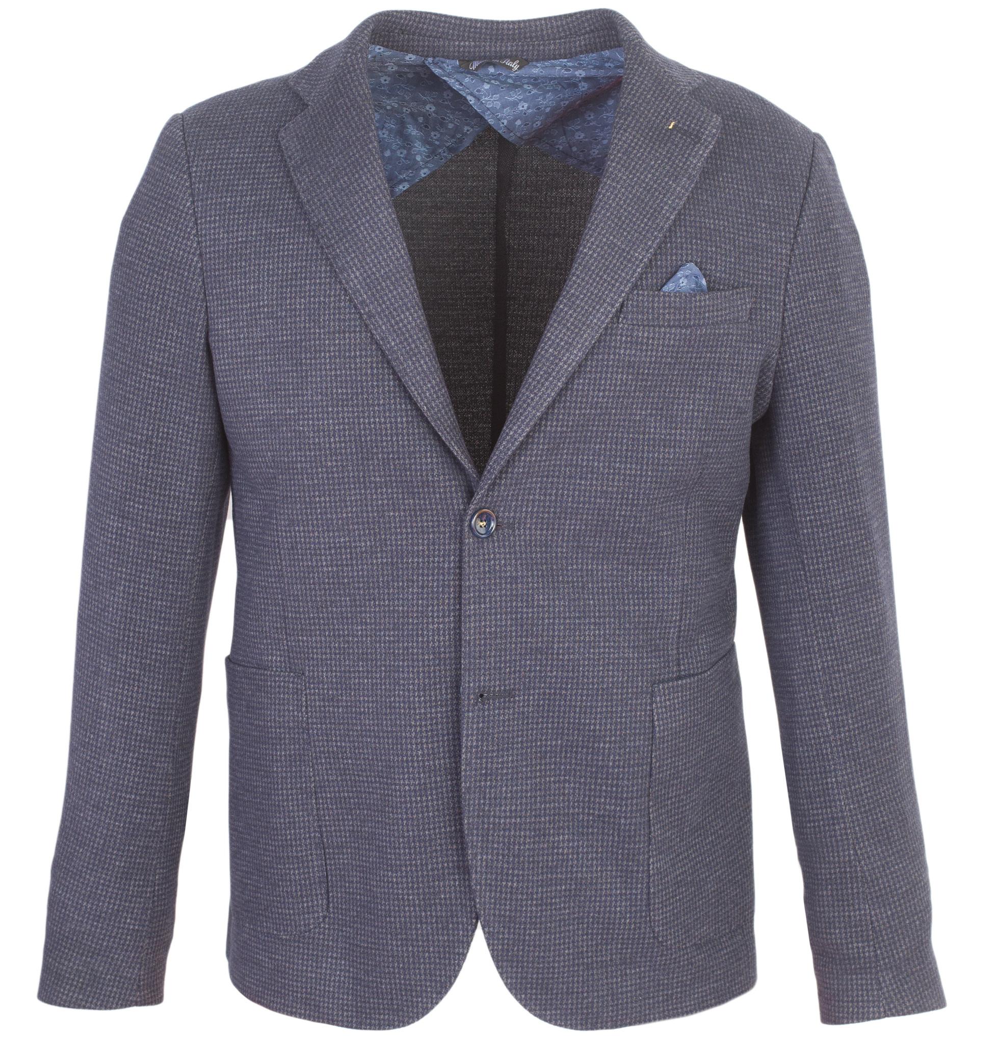 Тёмно-синий хлопковый пиджак с узором «гусиная лапка»