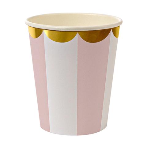 Стаканы в розовую полоску, 8 шт.