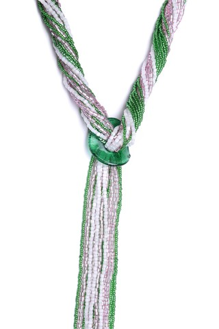 Бисерный галстук из 18 нитей розово-зеленый