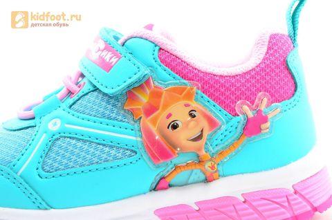 Светящиеся кроссовки для девочек Фиксики на липучках, цвет бирюзовый, мигает картинка сбоку. Изображение 12 из 14.