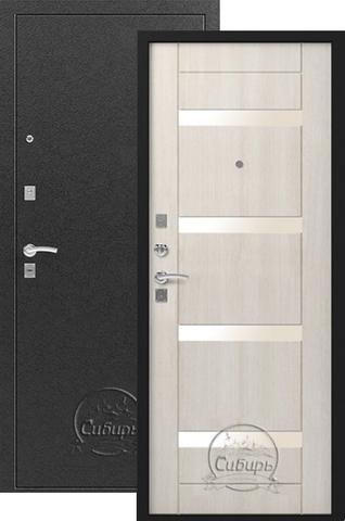 Стальная дверь Сибирь S-5, 1 замок, 1,5 мм  металл (серебро+лён светлый)