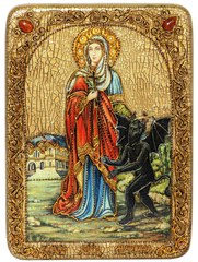 Инкрустированная икона Святая великомученица Марина (Маргарита) Антиохийская 29х21см на натуральном дереве в подарочной коробке
