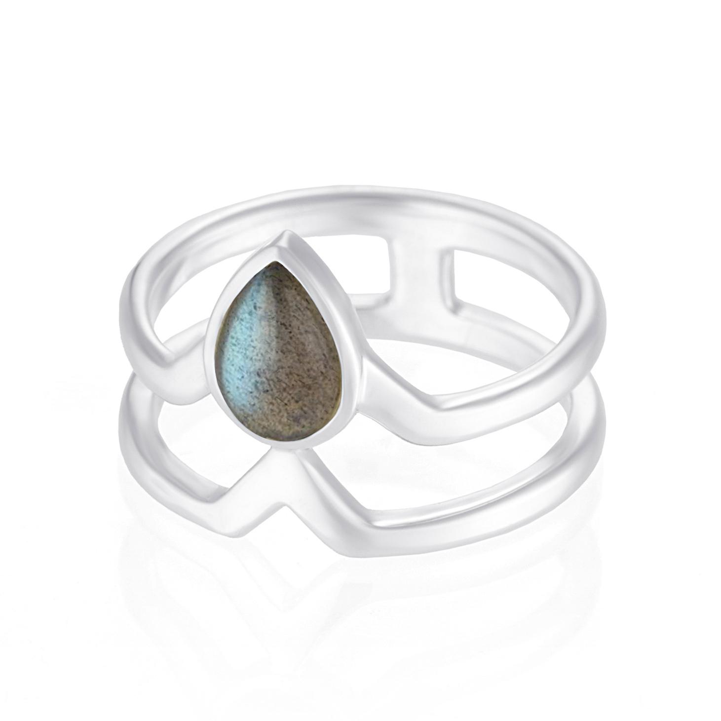 Двойное кольцо TETHYS - Лабрадорит