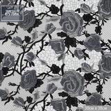 Кружево с черно-серыми розами