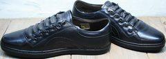 Низкие осенние кеды мужские черные кожаные Novelty 5235 Black