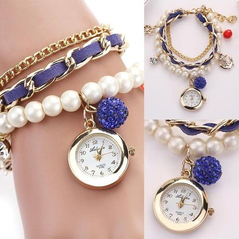 Часы-браслет с жемчугом (синий)
