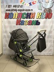Санки-коляска Galaxy Snow Kids-3-2-Т крупный ромб (серебро)
