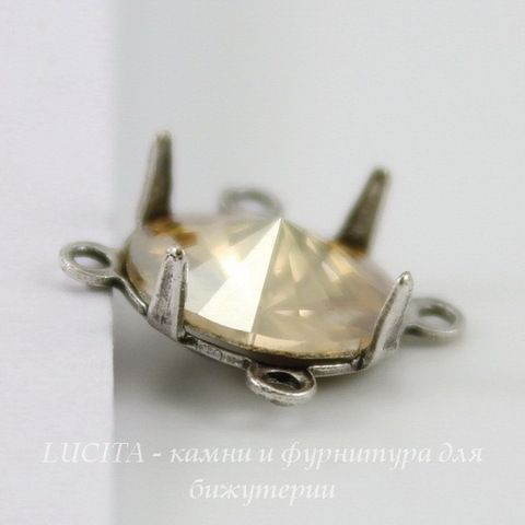 Сеттинг - основа - коннектор (2-2) для страза 8 мм (оксид серебра)