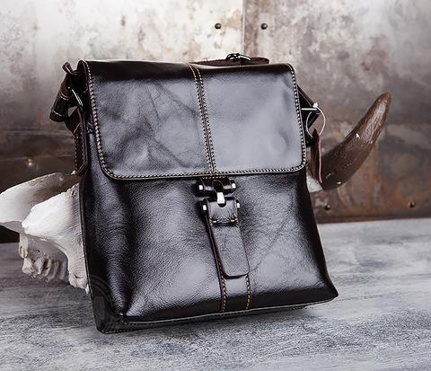BAG437-2 Красивая мужская сумка из натуральной кожи с ремнем на плечо