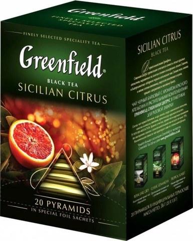 """Чай черный """"Greenfield"""" Sicilian Citrus 20 пирамидок"""