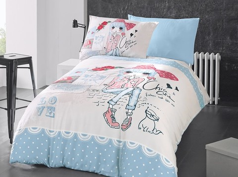 Комплект постельного белья DO&CO RANFORCE Подростковое 1,5 спальное(50*70 2шт) CLARICE