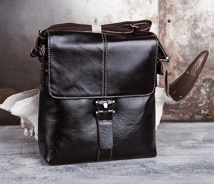 BAG437-2 Красивая мужская сумка из натуральной кожи с ремнем на плечо фото 02
