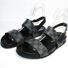 Сандали мужские кожаные Louis Vuitton 1008 01Blak.