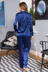 Шелковая женская пижама классическая темно-синяя
