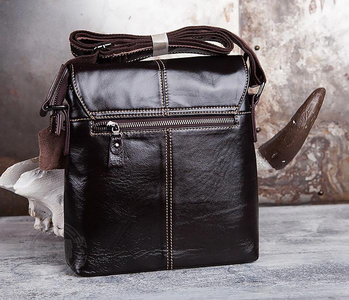BAG437-2 Красивая мужская сумка из натуральной кожи с ремнем на плечо фото 03