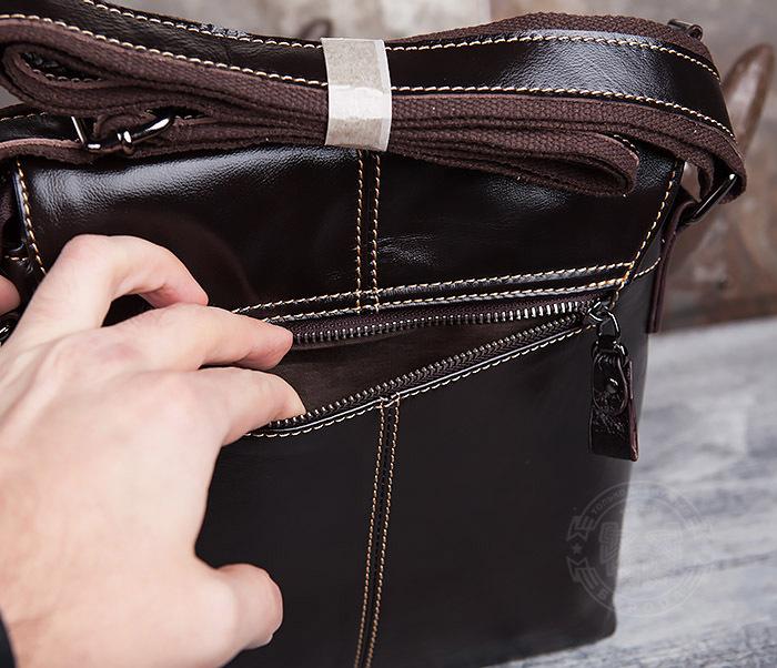 BAG437-2 Красивая мужская сумка из натуральной кожи с ремнем на плечо фото 04