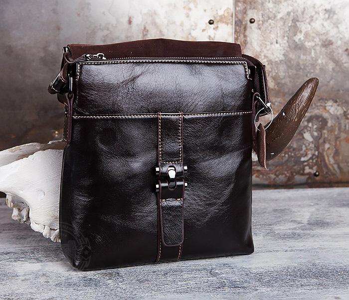 BAG437-2 Красивая мужская сумка из натуральной кожи с ремнем на плечо фото 05