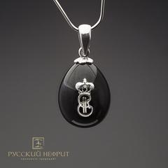 Кулон Яйцо с вензелем Екатерины II. Реплика фирмы К.Фаберже. Чёрный нефрит, серебро 925.