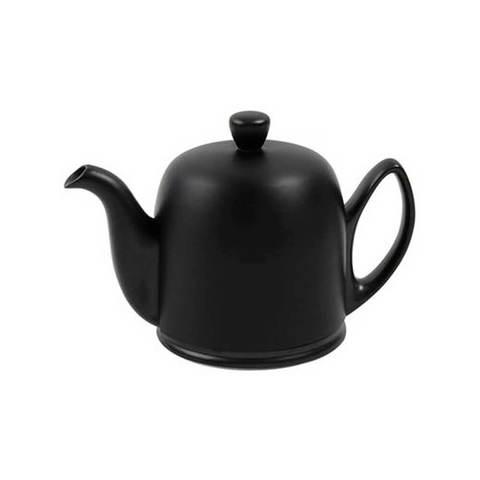 Фарфоровый заварочный чайник на 4 чашки с черной крышкой, черный, артикул 216410,