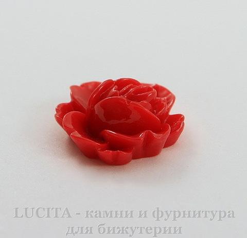 """Кабошон акриловый """"Кувшинка"""", цвет - красный, 19х16 мм"""