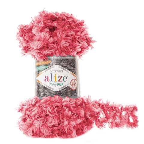 Купить Пряжа Alize Puffy Fur Цвет 6115 Розовый | Интернет-магазин пряжи «Пряха»