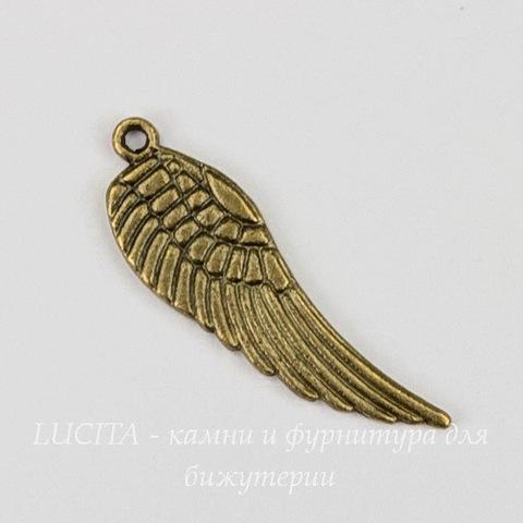 "Подвеска ""Крыло"" 30х9 мм (цвет - античная бронза)"