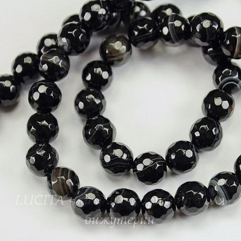 """Бусина Агат """"Мадагаскарский"""", шарик с огранкой, цвет - черный с белыми полосками, 8 мм, нить"""