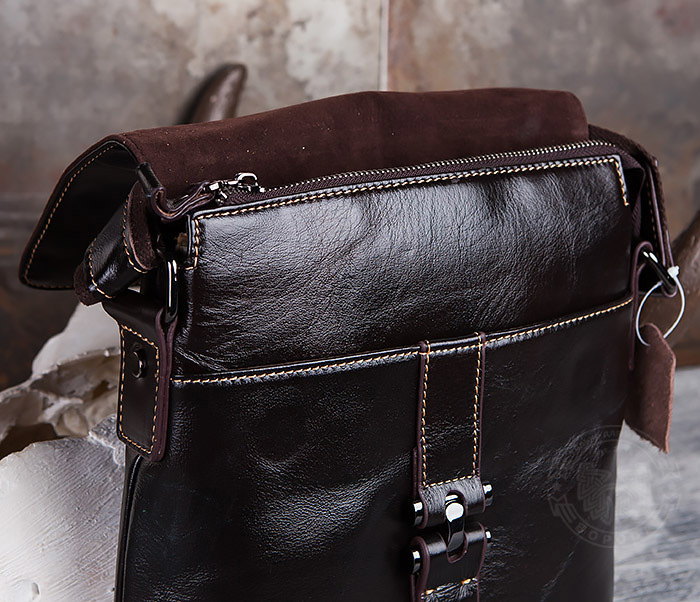 BAG437-2 Красивая мужская сумка из натуральной кожи с ремнем на плечо фото 06