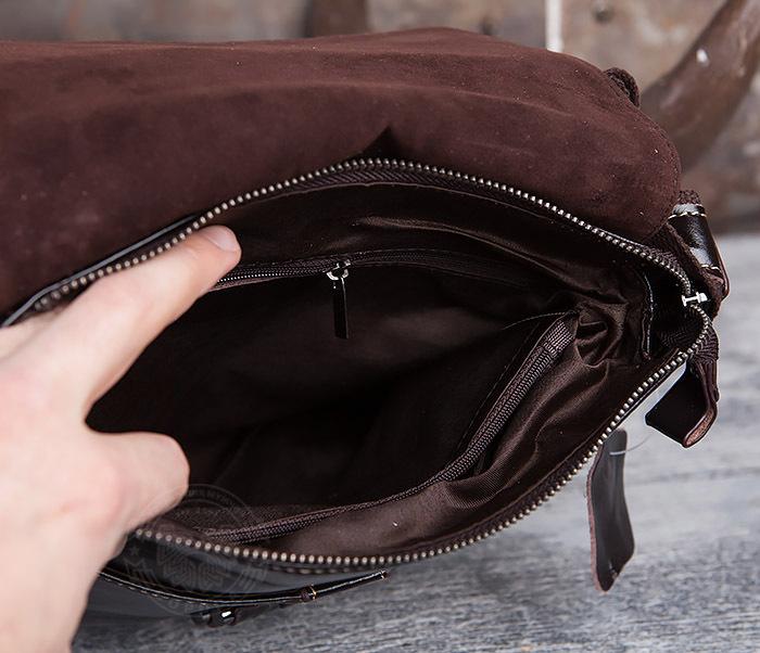BAG437-2 Красивая мужская сумка из натуральной кожи с ремнем на плечо фото 07