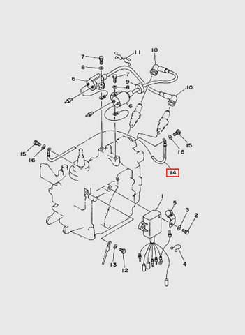 Провод заземления  для лодочного мотора T15, OTH 9,9 SEA-PRO (9-14)