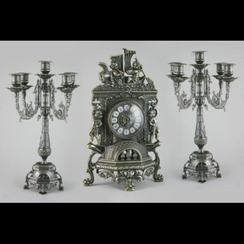 Часы каминные с канделябрами AL-82-101-C-ANT
