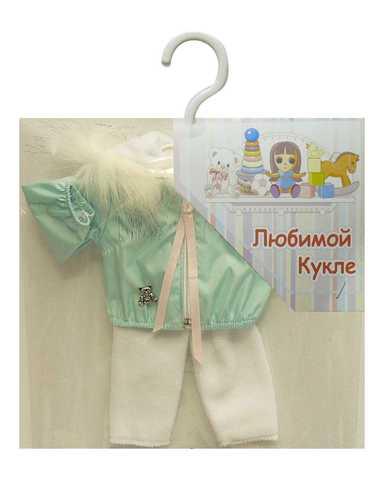 Костюм с курткой c мехом - Мята. Одежда для кукол, пупсов и мягких игрушек.