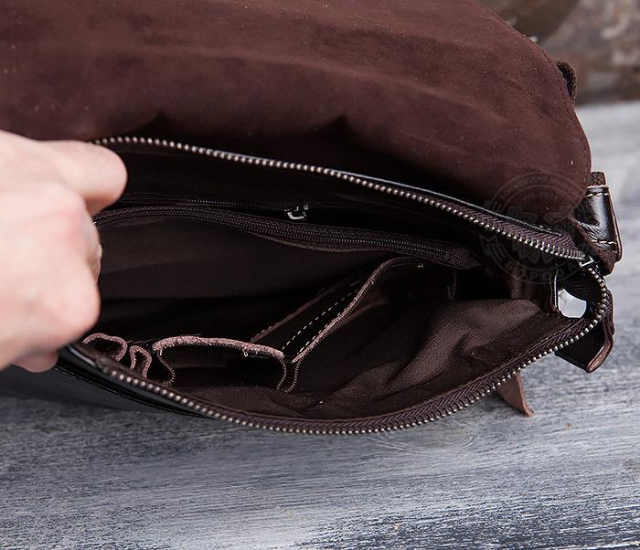 BAG437-2 Красивая мужская сумка из натуральной кожи с ремнем на плечо фото 08