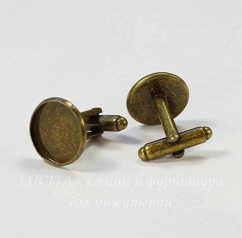 Основа для запонок с сеттингом для кабошона 14 мм (цвет - античная бронза), 19х18 мм, ПАРА