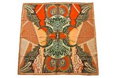 Итальянский платок из шелка коричнево-оранжевый с рисунком 5508