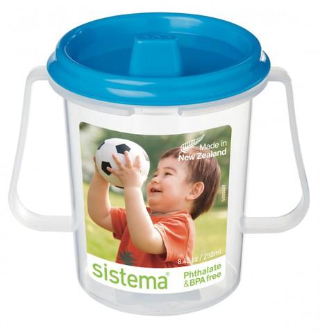Детская чашка Sistema с носиком, голубая 250 мл
