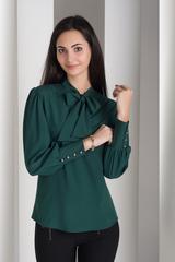 Маркиза. Красивая блуза с бантом. Изумруд