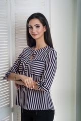 Иванна. Красивая блуза больших размеров. Розовая полоса