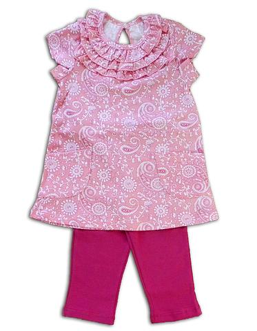 Basia Л469 Комплект для девочки туника+бриджи розовый