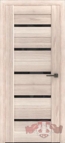 > Экошпон Владимирская фабрика дверей Лайн-1 Л1ПГ1, стекло чёрное, цвет капучино, остекленная