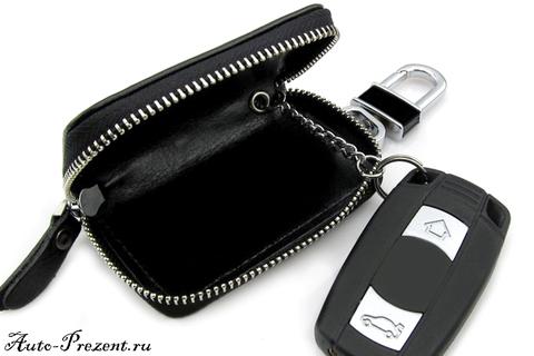 Кожаный чехол для ключа с логотипом SKODA