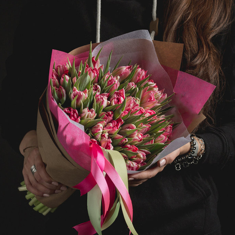 Тюльпаны пионовидные двухцветные Flash Point от 9шт