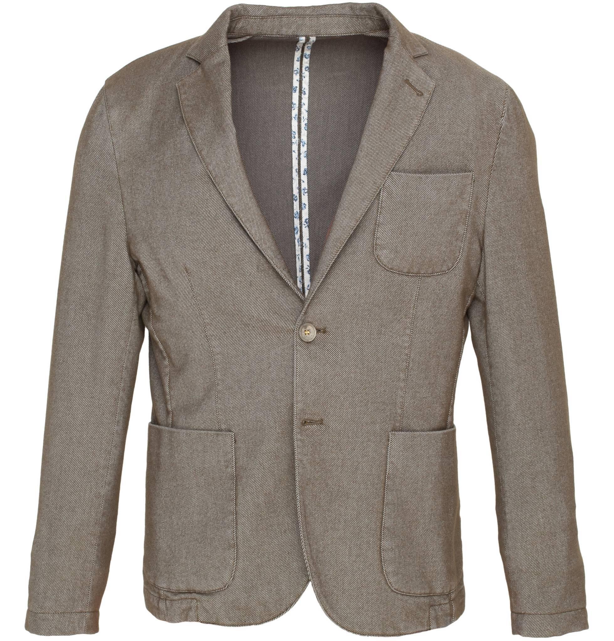 Серо-коричневый хлопковый пиджак в рубчик