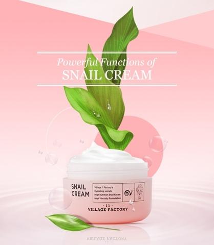 Крем для лица с улиточным муцином, аденозином, гиалуроновой кислотой и экстрактом прополиса, 50 мл / Village 11 Factory Snail Cream