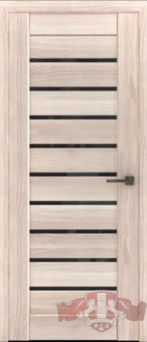 > Экошпон Владимирская фабрика дверей Лайн-3 Л3ПГ1, стекло чёрное, цвет капучино, остекленная