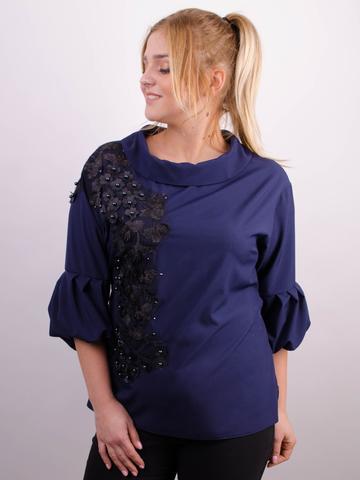 Милана. Стильная блуза больших размеров. Синий.