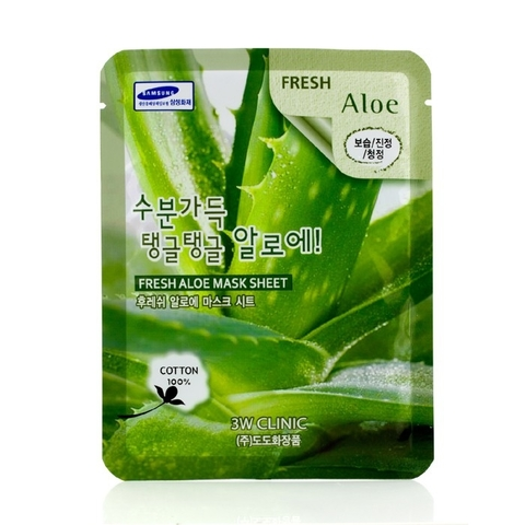 3W CLINIC Тканевая маска для лица с экстрактом алоэ Fresh  Aloe Mask Sheet (23мл)