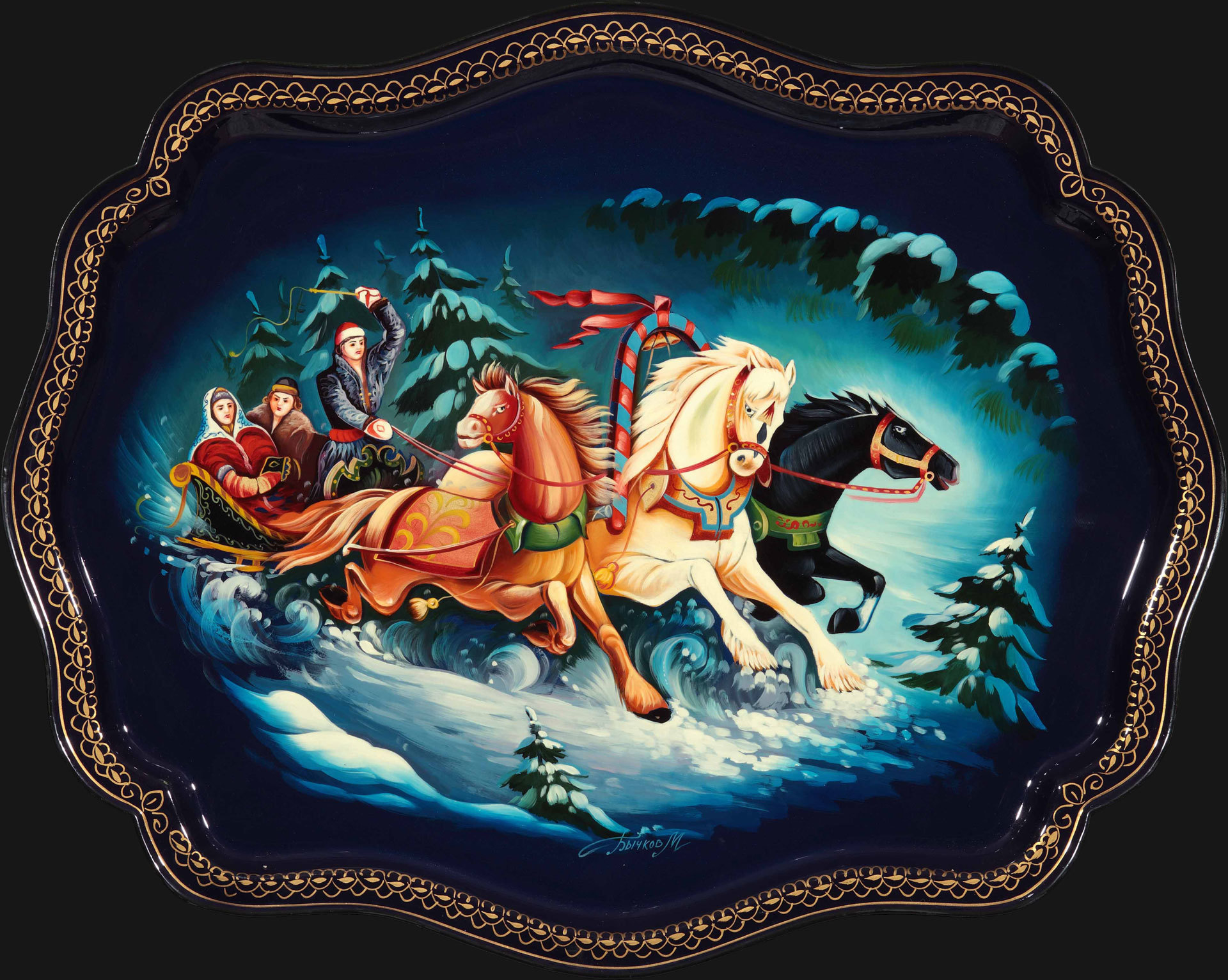 Winter three-horse carriage